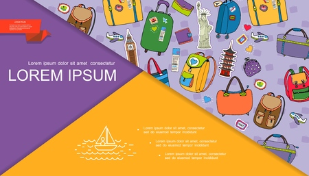 Hand drawn summer travel composition with baggage bags luggage wallet purse airplane ticket famous world sights vector illustration