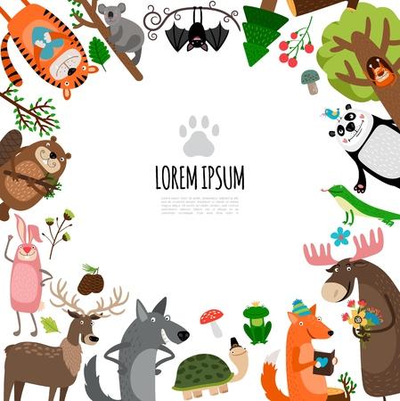 Flat zoo animals concept with tiger koala bat panda squirrel iguana deer frog turtle wolf fox hare beaver vector illustration 일러스트
