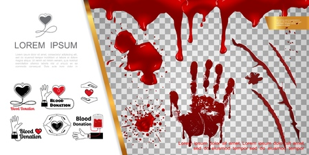 Realistic blood elements concept with bloody splashes handprint blots drips splatters and blood donation icons vector illustration