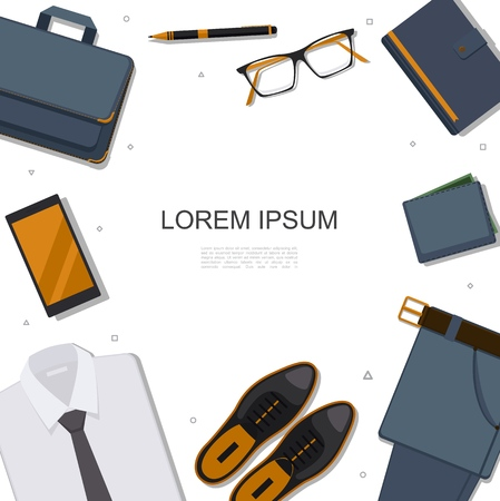 Flat businessman accessories template with briefcase phone eyeglasses pen notepad trousers wallet leather shoes shirt vector illustration Stock Illustratie