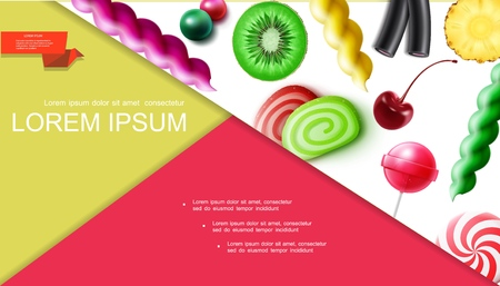 Realistic sweet products composition with cherry kiwi pineapple pieces fruit candies gums lollipops marmalade licorice vector illustration Vectores