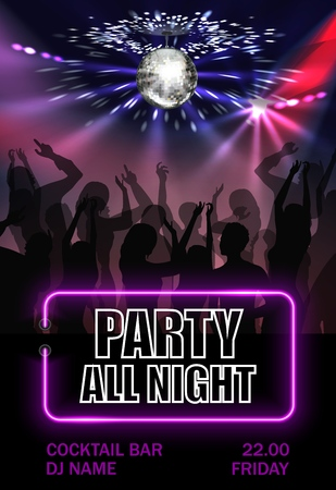 Realistic night party advertising poster with dancing people crowd under sparkling disco ball vector illustration