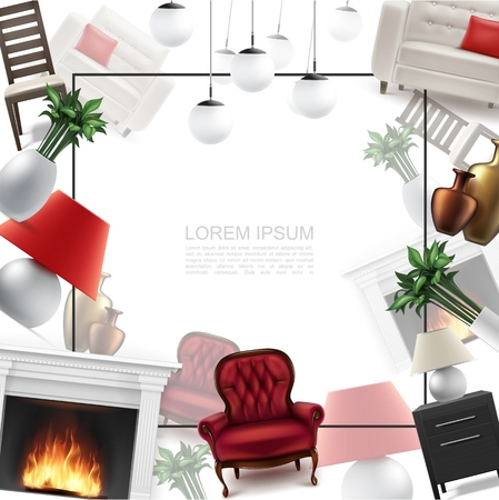 Realistic home interior template with frame for text comfortable armchair ceiling and table lamps nightstand chair flowers vases sofa fireplace vector illustration
