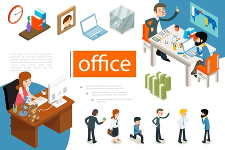 Isometric business people concept with office workers in different poses clock books on shelf photo frame laptop safe money vector illustration Illustration