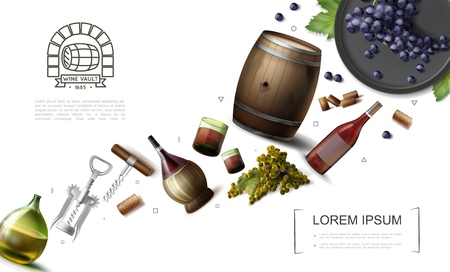 Realistic winemaking elements collection with bottles glasses and wooden barrel of wine grape bunches corkscrews vector illustration