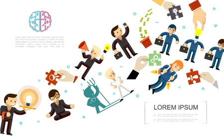 Flat creative idea concept with business people in different poses situations and performing various actions vector illustration