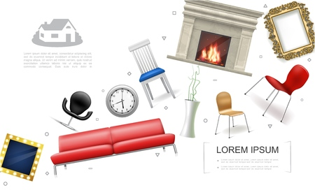 Realistic house interior elements concept with sofa fireplace chairs plant in vase clock decorative picture and photo frames vector illustration