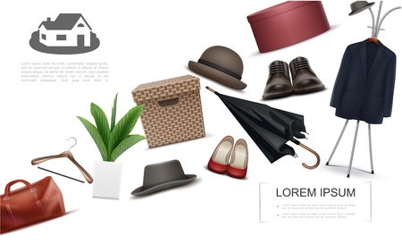 Realistic wardrobe elements collection with bag hanger suit fedora hats plant umbrella male and female shoes boxes for footwear and garment vector illustration