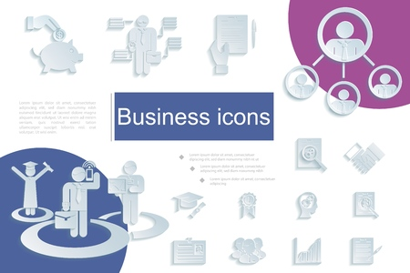 Paper business icons composition with piggy bank businessmen id card diagram graduate handshake teamwork medal document elements in flat style vector illustration