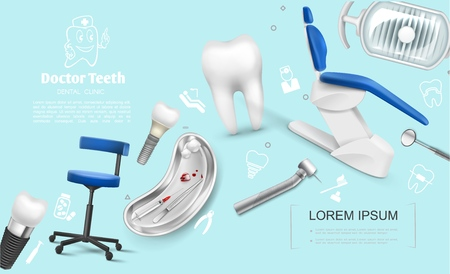 Realistic dentistry colorful template with medical chairs dental implants tooth machine mirror lamp metal tray of syringe hook pulled teeth cotton balls vector illustration