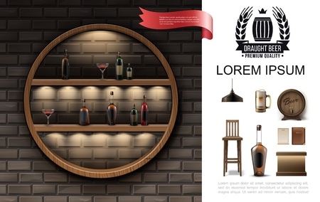 Realistic pub composition with round shelf of cocktails and bottles of alcohol drinks lamp beer glass wooden barrel menu chair bar counter vector illustration