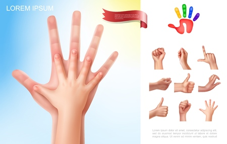 Child and parent hands concept with different female hand gestures in realistic style vector illustration