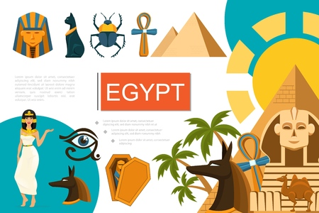 Flat Egypt symbols composition with Cleopatra Anubis God and pharaoh masks scarab ankh cross camel sphinx Egyptian cat pyramids Horus eye vector illustration