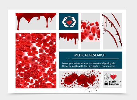 Realistic blood donation composition with bloody splashes splatters blots drips and blood erythrocytes vector illustration