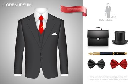 Realistische Komposition im Geschäftsmannstil mit Business-Anzug-Aktenkoffer-Zylinder-Hut-Stift roter und schwarzer Fliege Vektor-Illustration Vektorgrafik
