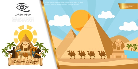 Flat Egypt travel colorful template with pyramids camels sphinx palm trees ankh cross sarcophagus Egyptian cat vector illustration