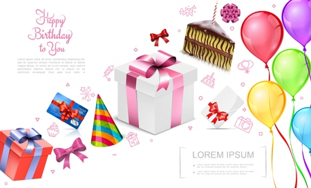 Realistic happy birthday concept with gift boxes party hat credit card piece of cake bright bows colorful balloons vector illustration