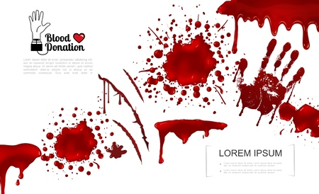 Realistic bloody elements template with blood splashes splatters blots spots drips and handprint vector illustration