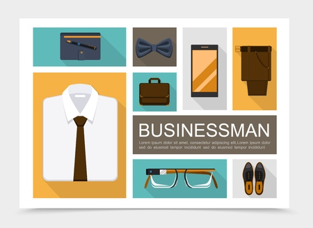 Flat businessman elements set with shirt bow tie notepad pencil briefcase eyeglasses leather shoes trousers mobile isolated vector illustration Stock Illustratie