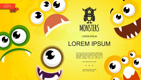 Cartoon cute monster faces concept with silly scared sad joyful facial expressions on yellow background vector illustration
