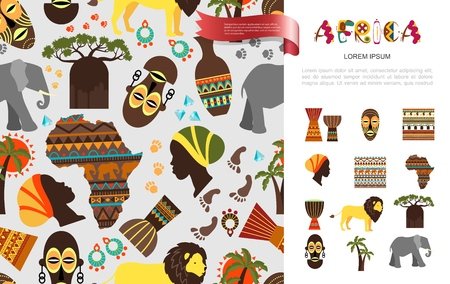 Flat african ethnic concept with tribal mask baobab palm trees african woman and papuan faces elephant lion vases Africa map ornamental pattern vector illustration