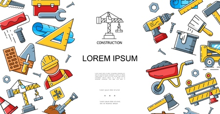 Construction linear style concept with builder roller brush shovel wrench trolley hammer drill axe ruler crane saw toolbox screws vehicle vector illustration Stock Illustratie