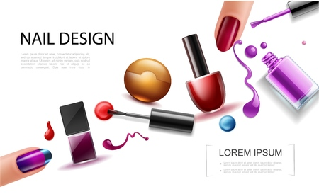 Realistic nail polish concept with colorful bottles lacquer splashes drops splatters and female fingers with beautiful manicure vector illustration