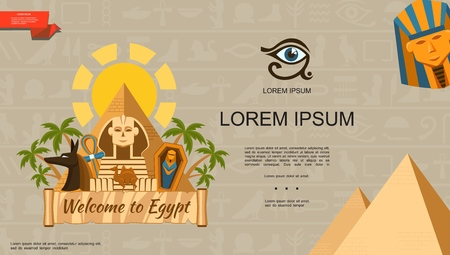 Flat Welcome To Egypt template with pyramids pharaoh and Anubis God masks sphinx ankh cross camel sarcophagus palm trees vector illustration