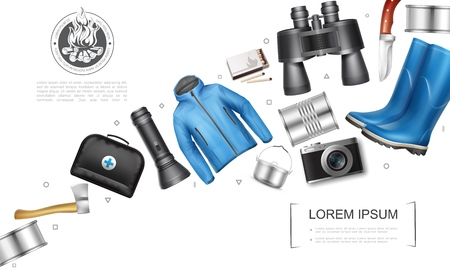 Realistic camping elements concept with canned food axe medical bag flashlight cooking pot camera jacket matches rubber boots binoculars knife vector illustration