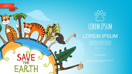 Flat colorful save the Earth template with leopard tiger ostrich giraffe trees on planet vector illustration
