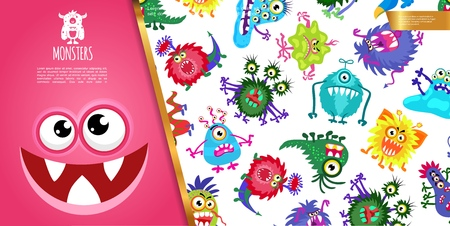 Cartoon funny colorful monsters composition with cute creatures and joyful monster face vector illustration