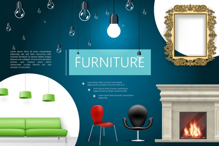 Realistic house interior elements composition with fireplace chairs green sofa lamps decorative frame lamps vector illustration
