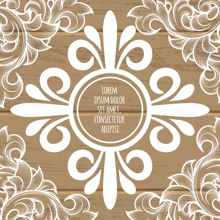 Vintage page decoration concept with white decorative swirl tracery and floral elegant vignettes on wooden background vector illustration