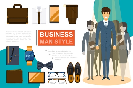 Flat businessman style composition with business people briefcase shirt bow tie trousers phone tablet notepad wristwatch wallet shoes eyeglasses vector illustration