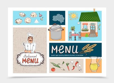 Hand drawn Russian cuisine cafe concept with chef pan dumplings restaurant building juice cloud wheat ear mushrooms tomato carrot pepper onion vector illustration Stock Illustratie