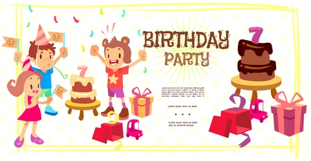 Flat birthday celebration template with funny children cakes present boxes toy confetti vector illustration