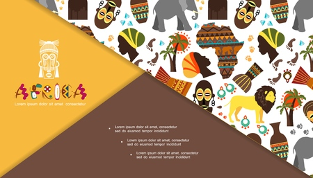 Flat african traditional elements composition with woman and Papuan faces Africa map animals vases palm and baobab trees tribal mask dream catchers vector illustration Stock Illustratie