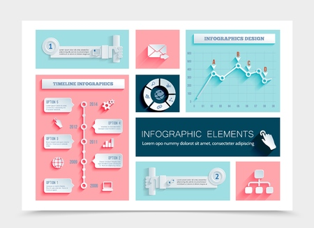 Flat business infographic template with circle diagram charts graphs timeline infographics gear globe laptop letter hand pressing button paper icons vector illustration Stock Illustratie