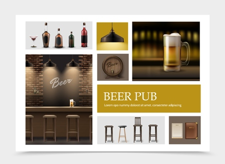 Realistic pub elements set with beer mug on bar counter menu lamp wooden barrel of foamy drink alcohol bottles chairs vector illustration