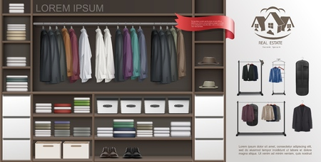 Realistic male wardrobe room modern concept with shirts on hangers suits t-shirts fedora hats leather shoes shelves and boxes for accessories vector illustration Stock Illustratie