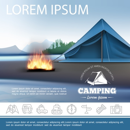 Realistic camping beautiful template with tent bonfire on shore of lake and outdoor recreation linear icons vector illustration Stock Illustratie