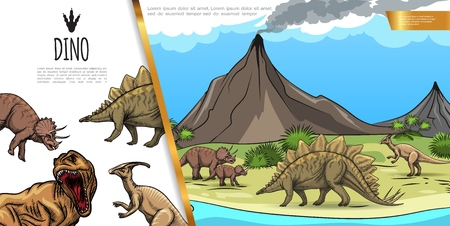 Hand drawn dinosaurs colorful concept with stegosaurus triceratops t-rex parasaurolophus on volcano landscape vector illustration