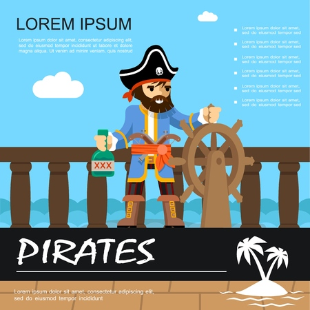Flat pirate adventure colorful poster with pirate holding ship helm and bottle of rum vector illustration Stock Illustratie