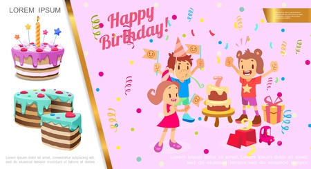 Flat birthday party concept with kids celebrating birthday confetti gift boxes cakes vector illustration Stock Illustratie