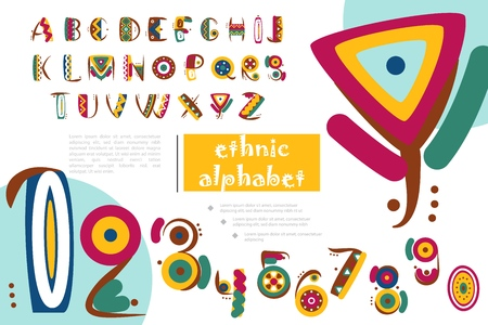 African Or Indian Ethnic Alphabet Template with colorful decorative letters and numbers in flat style vector illustration Stock Illustratie