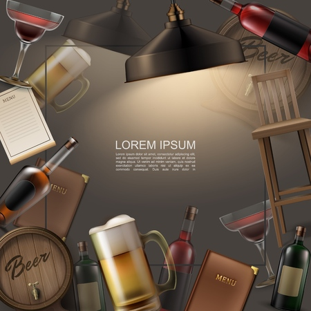 Realistic pub colorful template with cocktail glass mug and wooden barrel of beer bottles with alcoholic drinks chairs bar menu lamp vector illustration