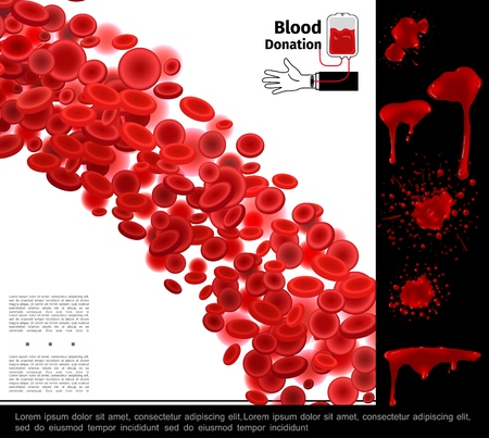 Realistic healthcare colorful concept with blood cells splashes blots and drips vector illustration