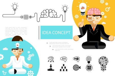 Flat creative idea composition with business people meditating in lotus position brain lightbulb target teamwork leadership speech bubbles icons vector illustration