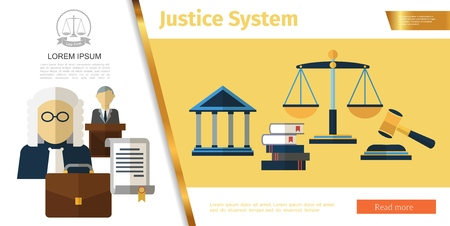 Colorful judicial system concept with judge lawyer law books and contract briefcase courthouse gavel scales of justice in flat style vector illustration