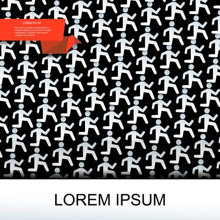 Flat gray running man pattern in paper style on dark background vector illustration Stock Illustratie